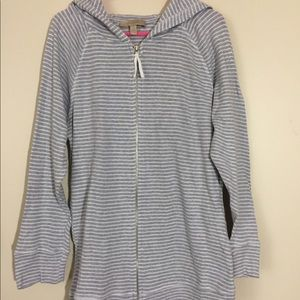 Jackets & Blazers - Hoodie Jacket- Light grey & white stripes, Size L